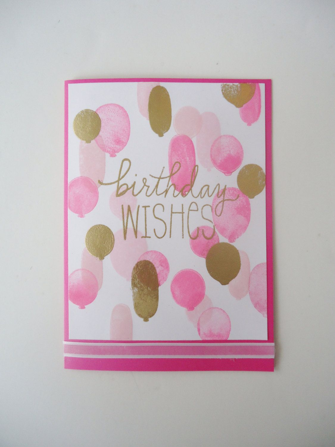 Beautiful Birthday Wishes in pink and gold Handmade