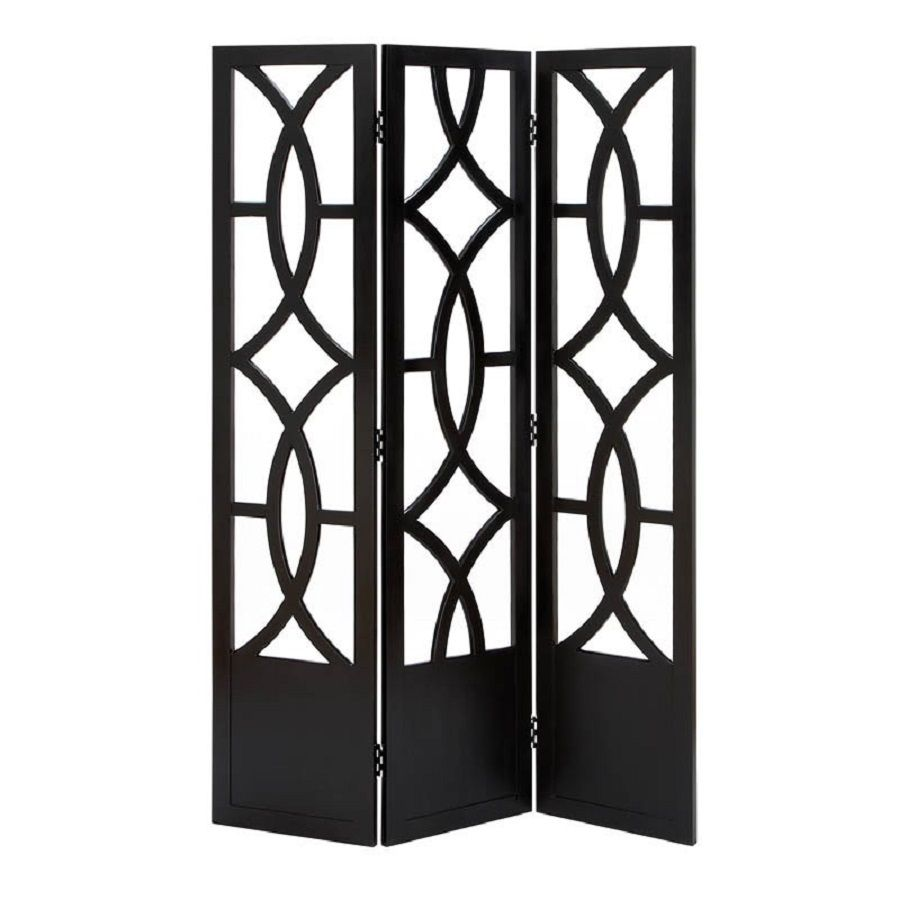 Shop Woodland Imports 3 Panel Ebony Wood Folding Indoor Privacy