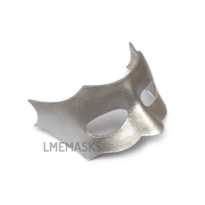 Male Iridescent White Leather Mask Men Man Masculine