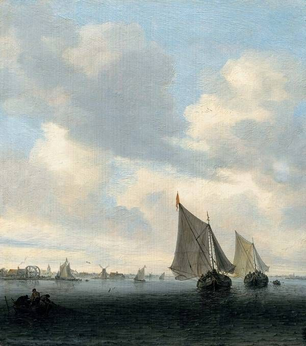 52d5334257d0 Residenzgalerie Salzburg  Dutch Baroque  Salomon van Ruysdael  Seascape  with Sailing Boat on the Right. Find this Pin and more on Lovely old  patterns ...