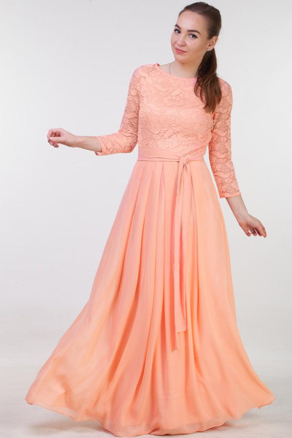 Lace Peach Bridesmaid Dress Long With Sleeves Modest Prom Dress