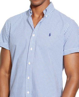 Polo Ralph Lauren Men s Short-Sleeved Checked Poplin Shirt  9656a5017f659