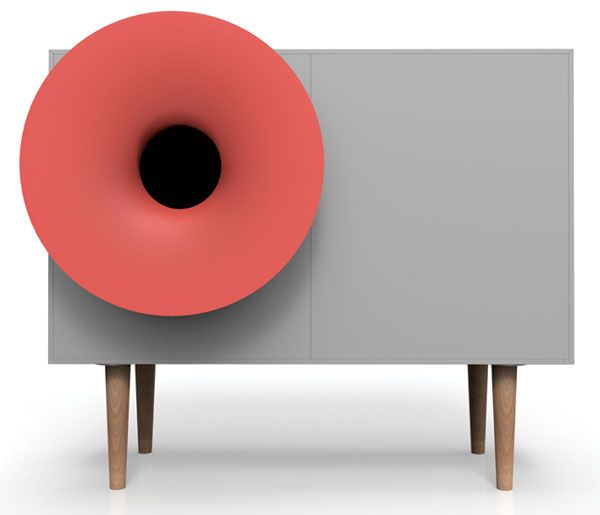 A RetroModern Sound System and Cabinet by Miniforms is part of System cabinet Design - Tiny tabletop amplifiers have nothing on Caruso, the retromodern sound system and cabinet invented by Paolo Cappello Design Studio for Miniforms