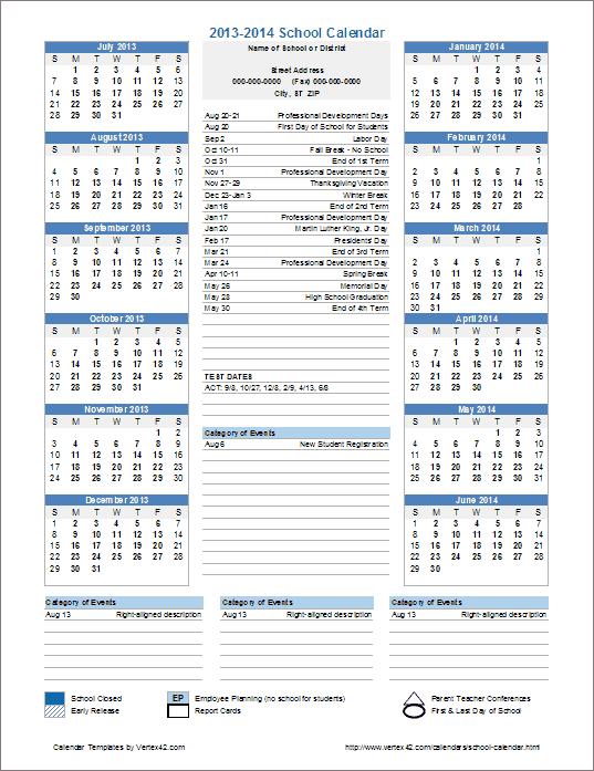 School Calendar Template   2019 2020 School Year Calendar | School