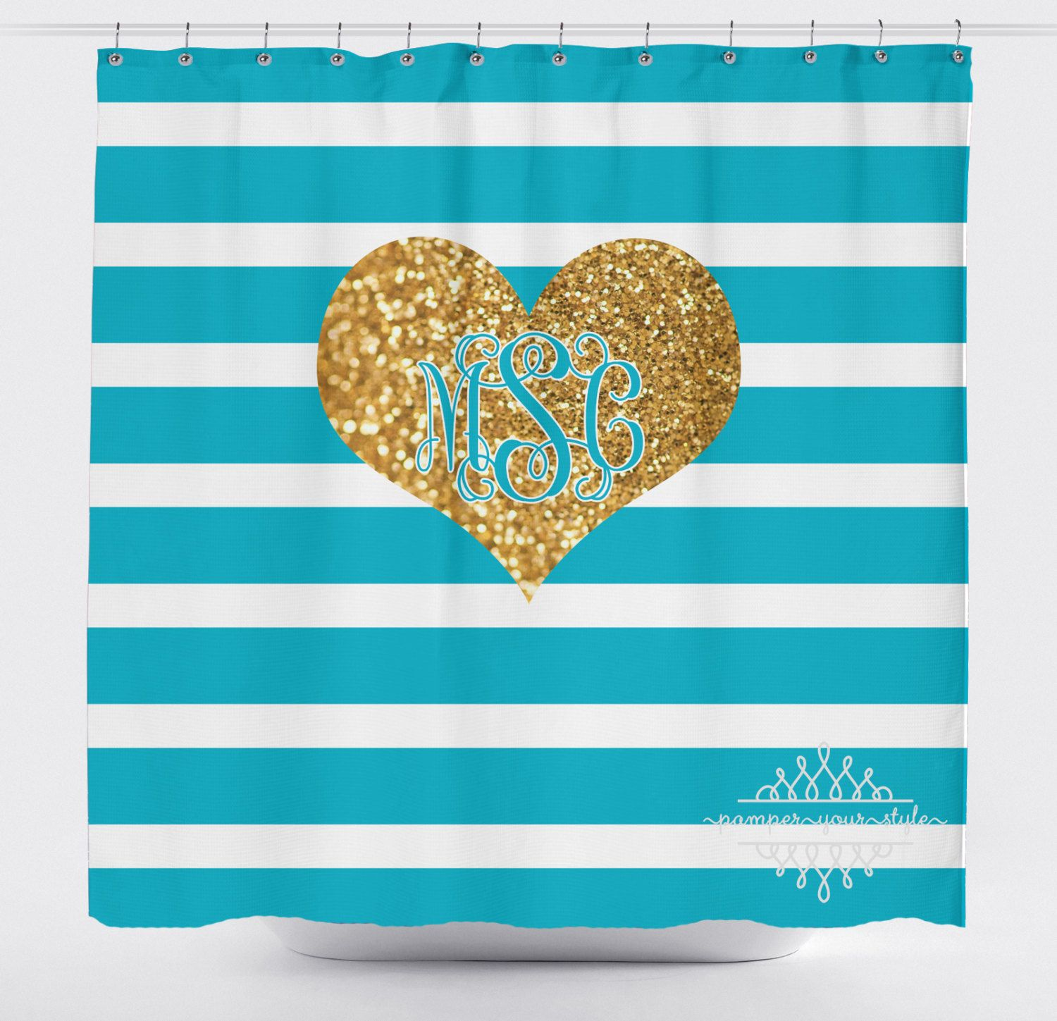 Turquoise Stripe And Gold Glitter Heart Shower Curtain