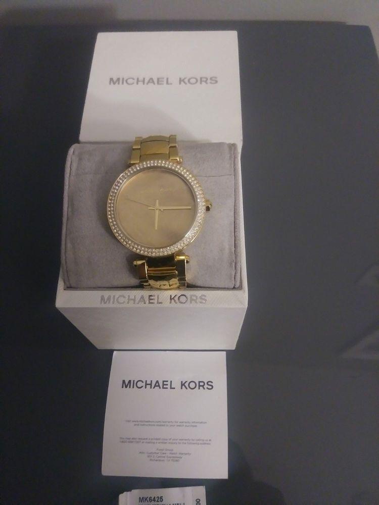 ce9518b82c0a NIB Michael Kors MK6425 Parker Mother of Pearl Gold-Tone Watch ...