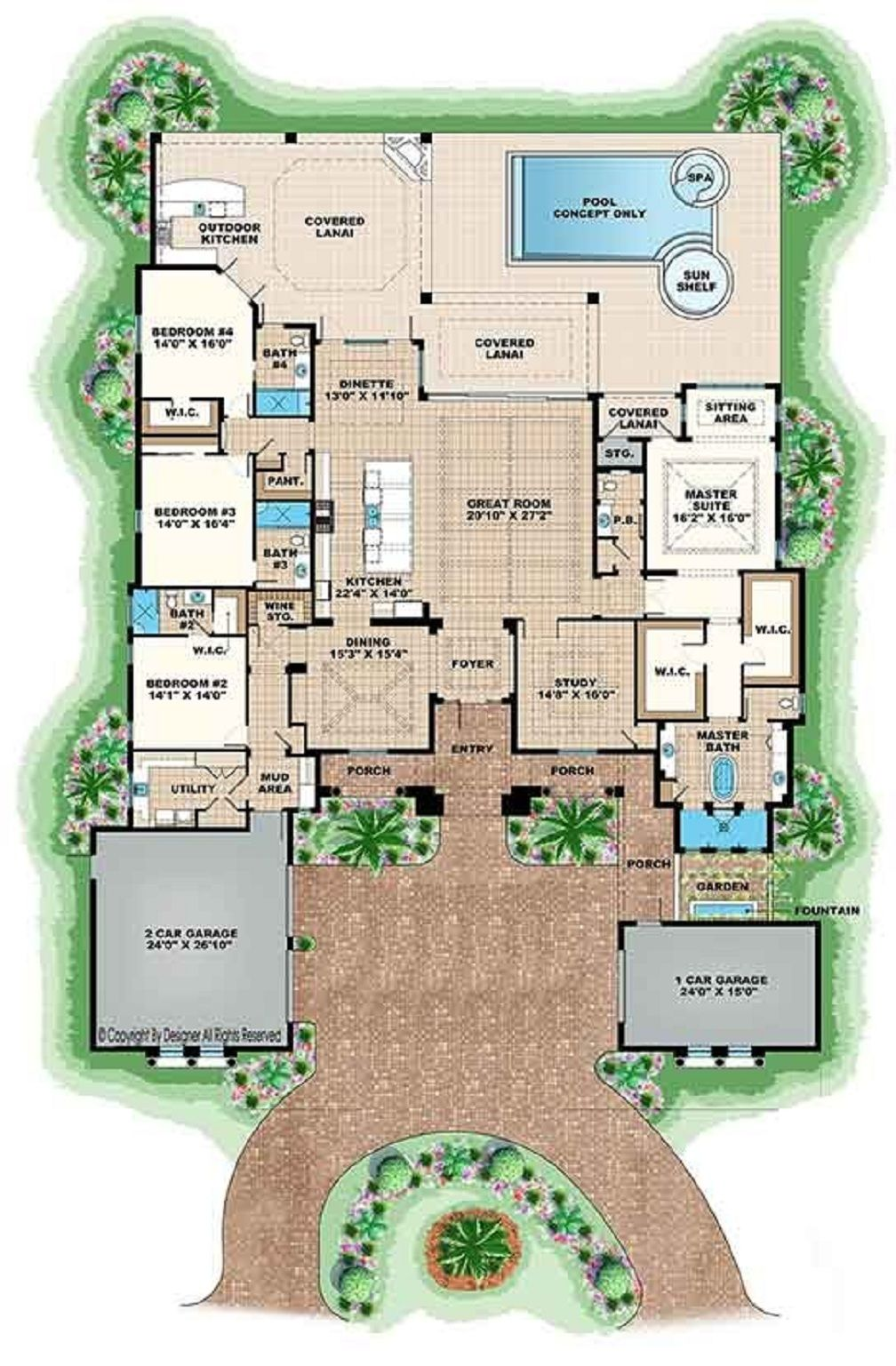 Open Floor Plans For Single Story Spanish Style Homes 4386 Sq Ft With 4 Bedr Mediterranean Style House Plans Mediterranean Floor Plans Mediterranean House Plan