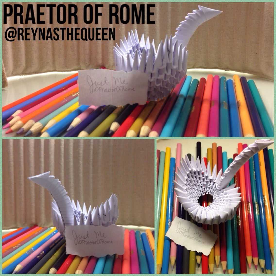 An Origami Swan I Made In Art That S My Other Username In The Pics So Don T Accuse Me Of Stealing Reynasthequeen Origami Swan Origami Art