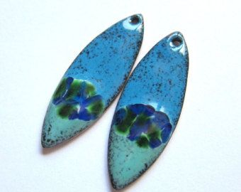 Enamel jewelry connectors Enameled copper by OxArtJewelry on Etsy