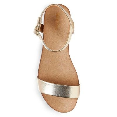 2305a0f0010d Women s Eve Wide Width Footbed Quarter Straps Wedge Sandals Merona - Gold  9.5W