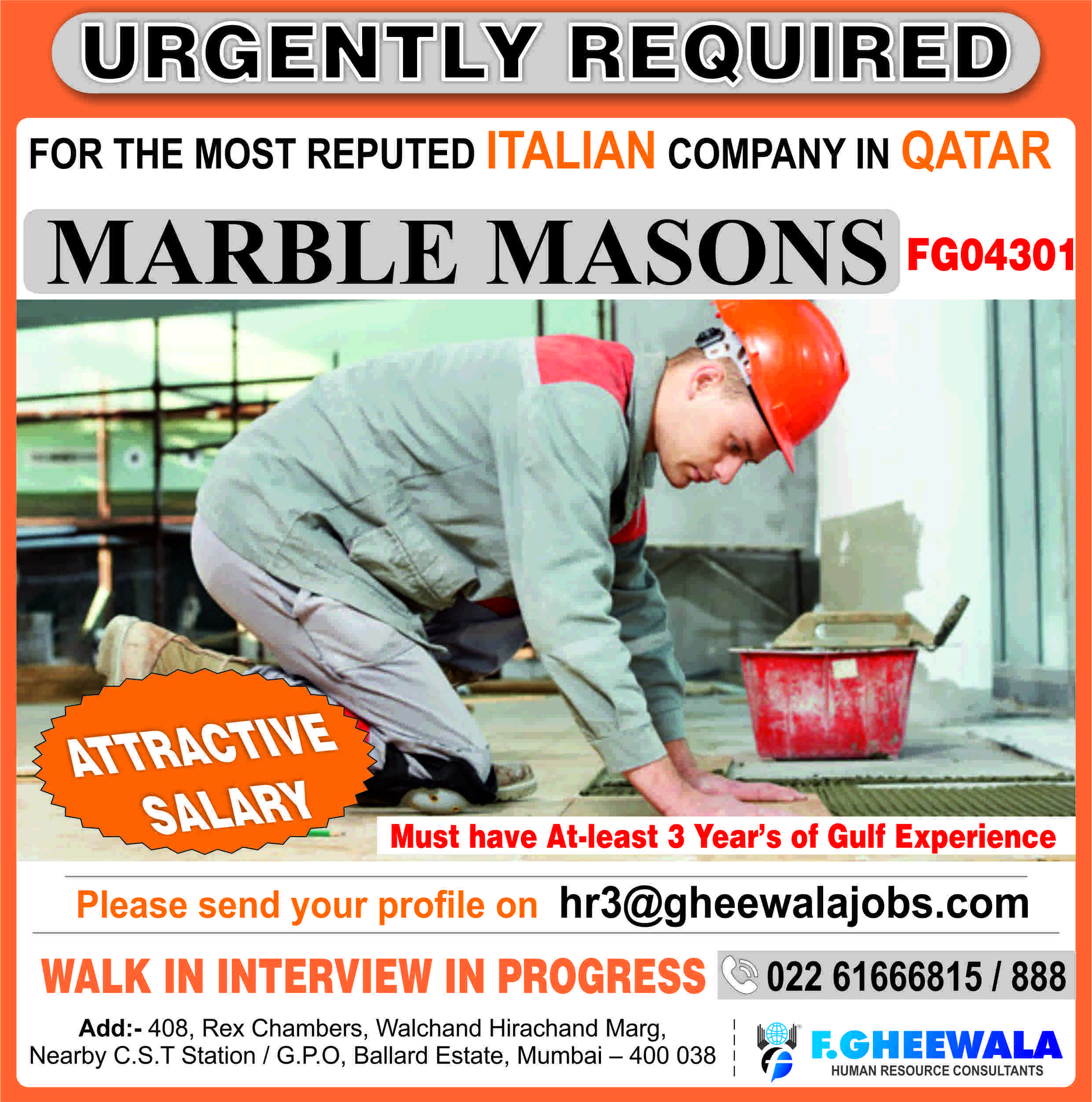 Urgently Required Marble Masons for the Most Reputed Italian Company