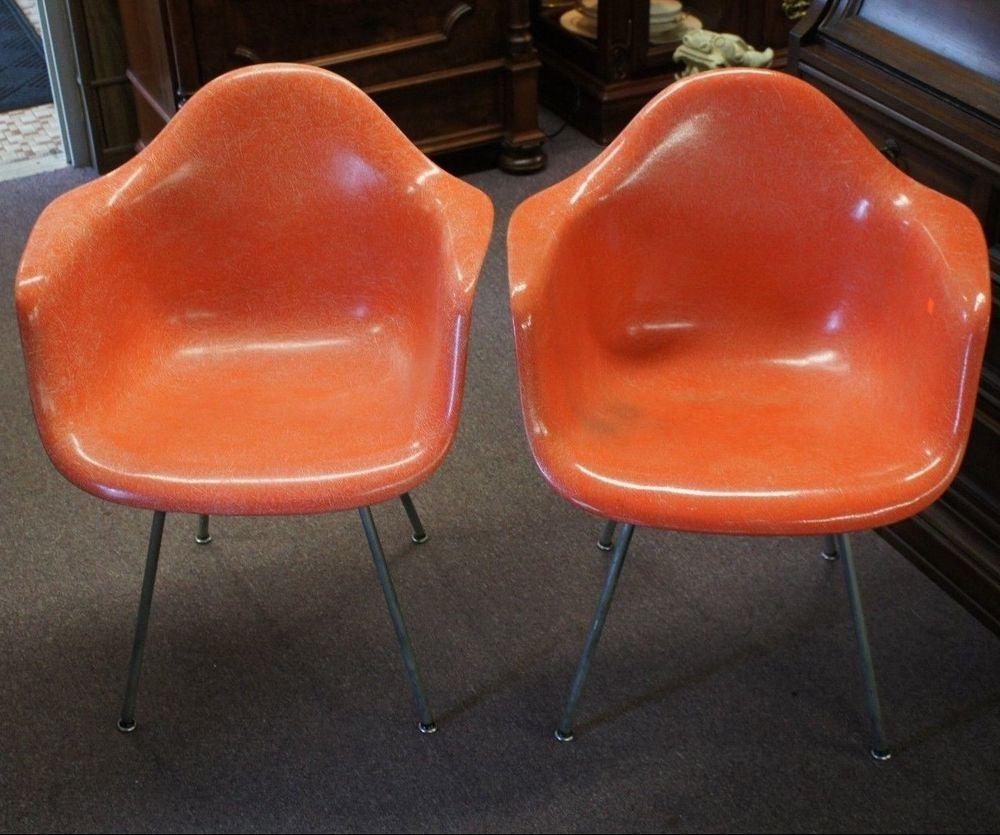 Vintage Herman Miller Eames Fiberglass Orange Arm Chairs