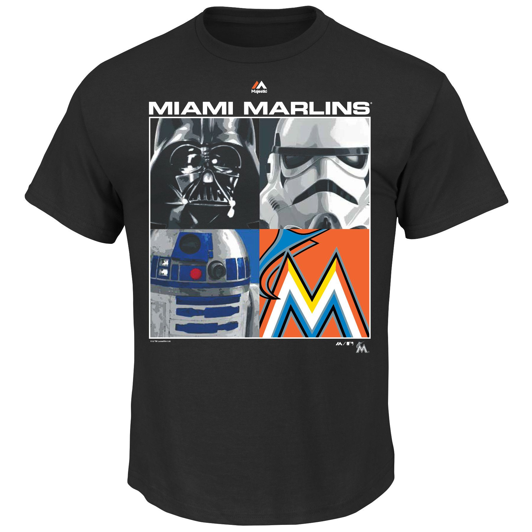 a1fe8f1a2 MLB Miami Marlins Majestic Star Wars Cube Character T-Shirt - Black ...