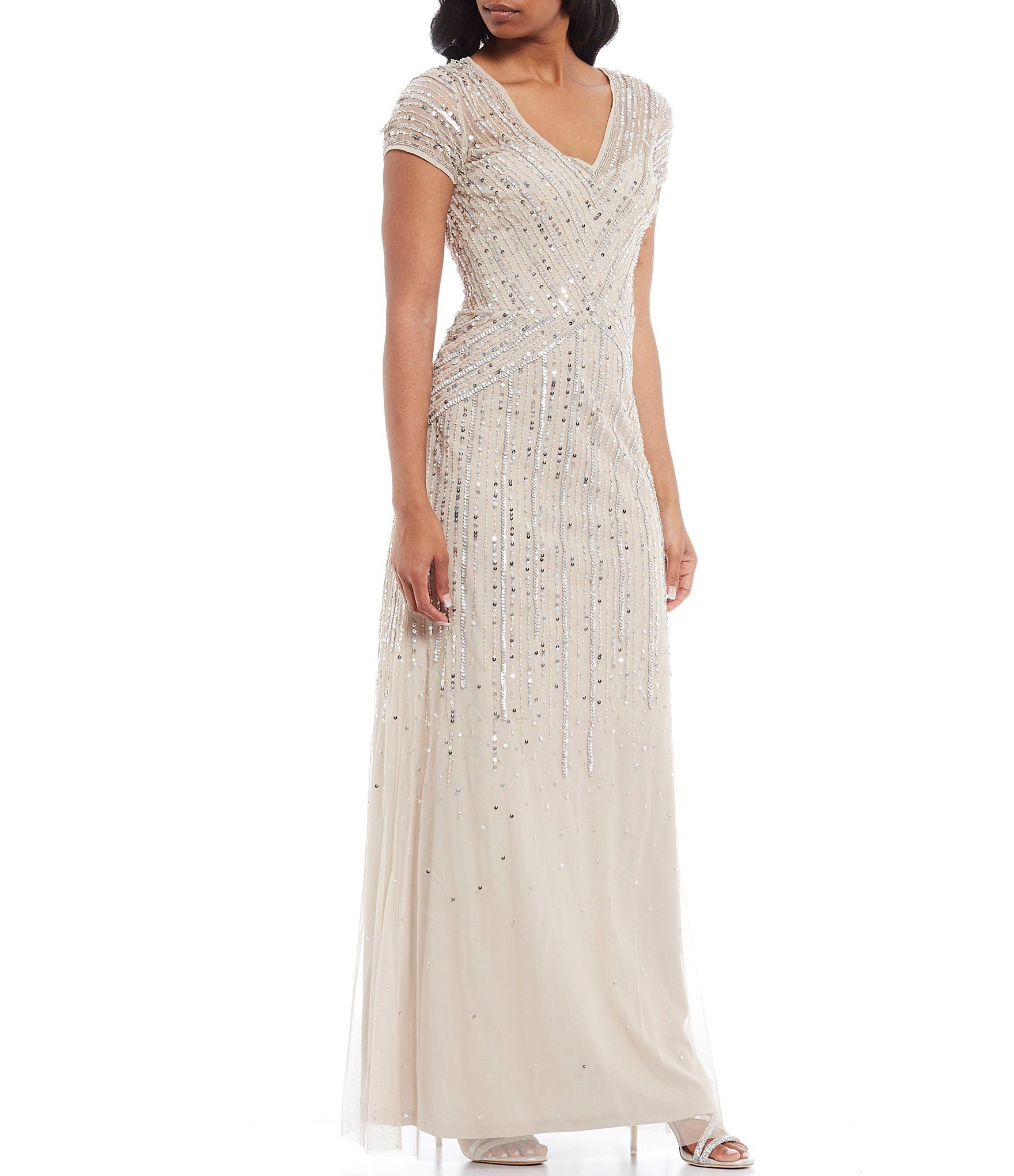 Adrianna Papell V Neck Short Sleeve Beaded A Line Gown Dillard S In 2020 A Line Gown Sheeth Dress Gowns