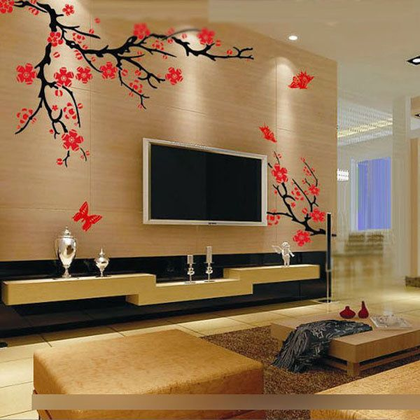 Purple Tulip Flowers Kitchen Vinyl Wall Stickers Home: Details About Wall Sticker Lily Purple Flower Living Room