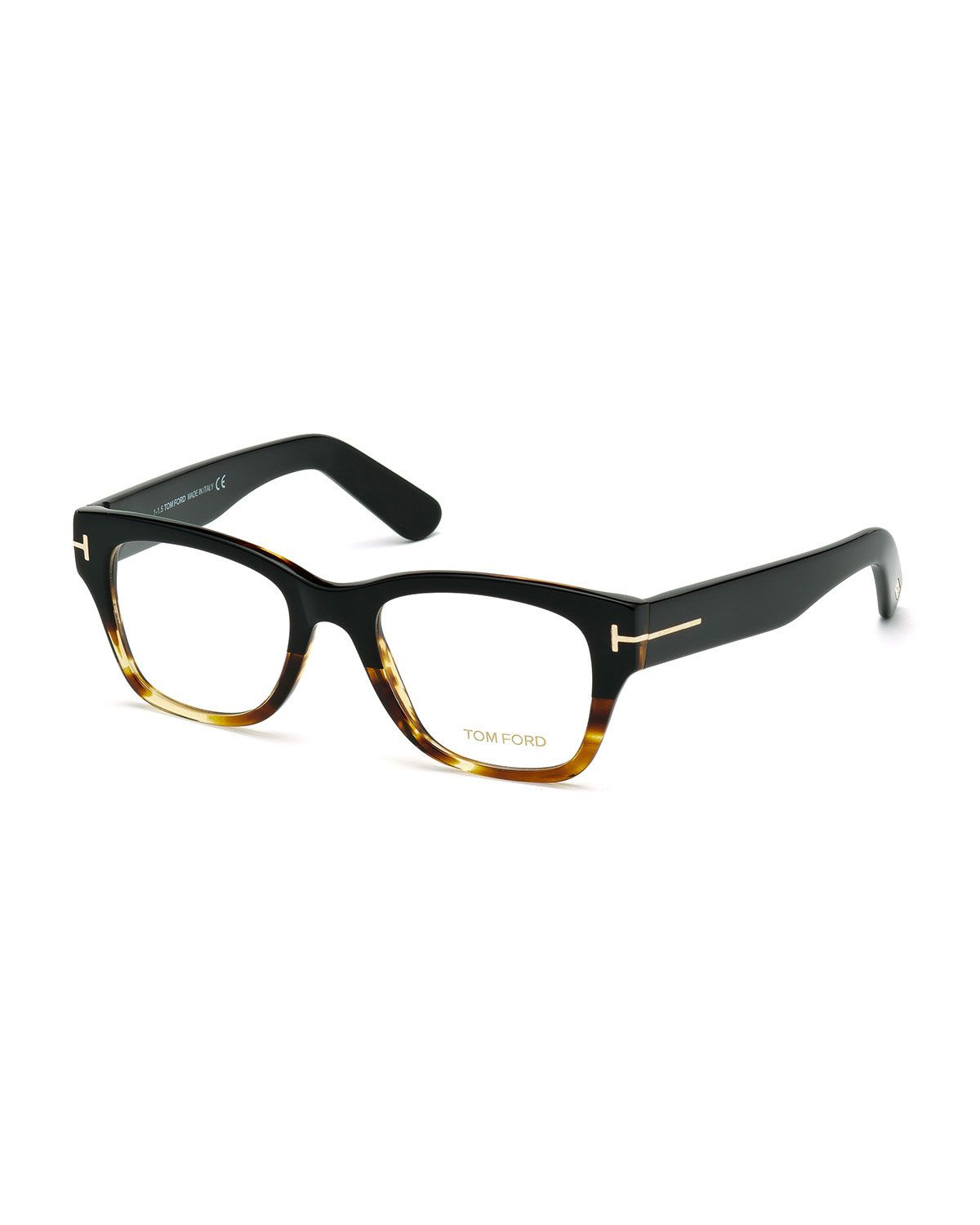 Tom Ford Large Gradient-Frame Eyeglasses, Black/Havana