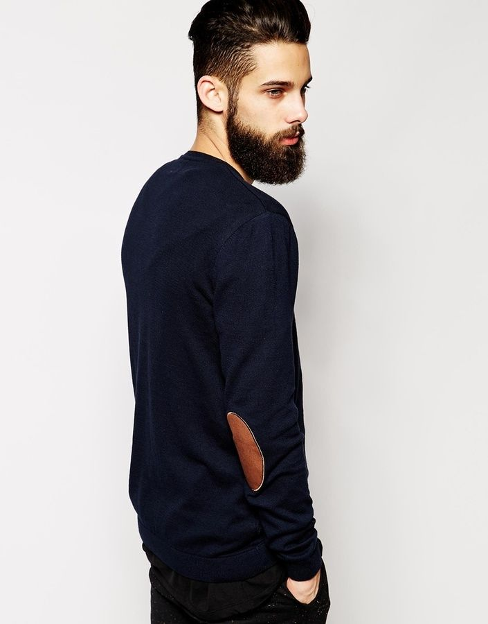 fe3a74f658f ASOS BRAND ASOS Crew Neck Sweater with Elbow Patches in Cotton ...
