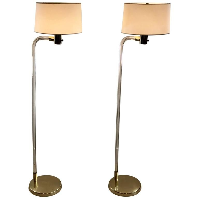 Pair Of Peter Hamburger For Knoll Lucite And Brass Floor Lamps