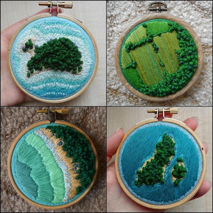 Vibrant Aerial Embroidery Captures the Beauty of English Farmlands From Above