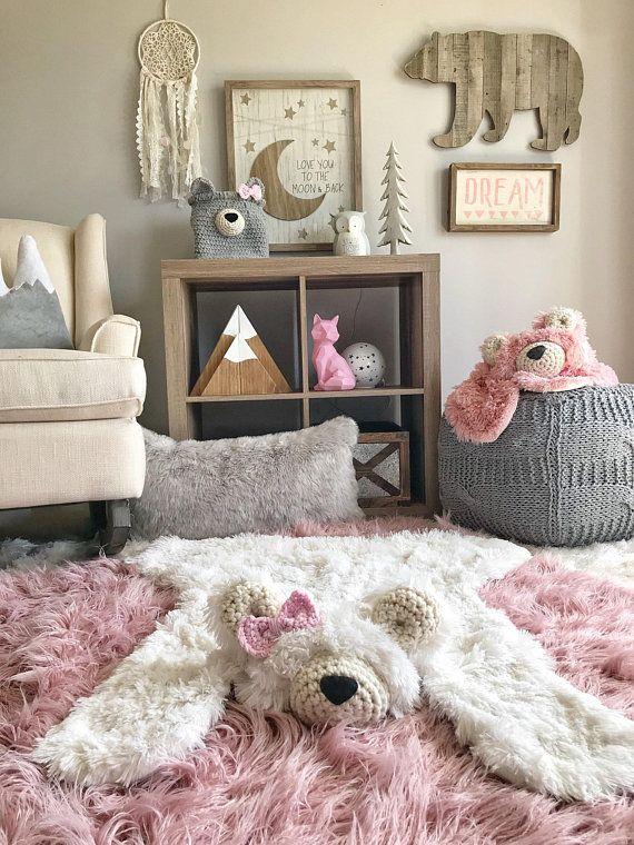 Bear Rug, Bear Blanket, Small Size Polar Minky Bear Plush
