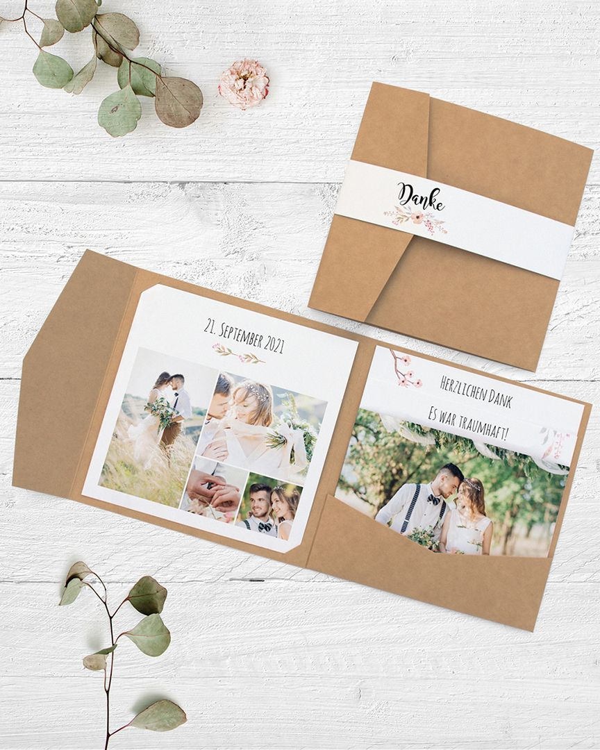 Dankeskarte zur Hochzeit in Form von Pocketfolder aus echtem Kraftpapier mit Einsteckkarten #personalizedwedding