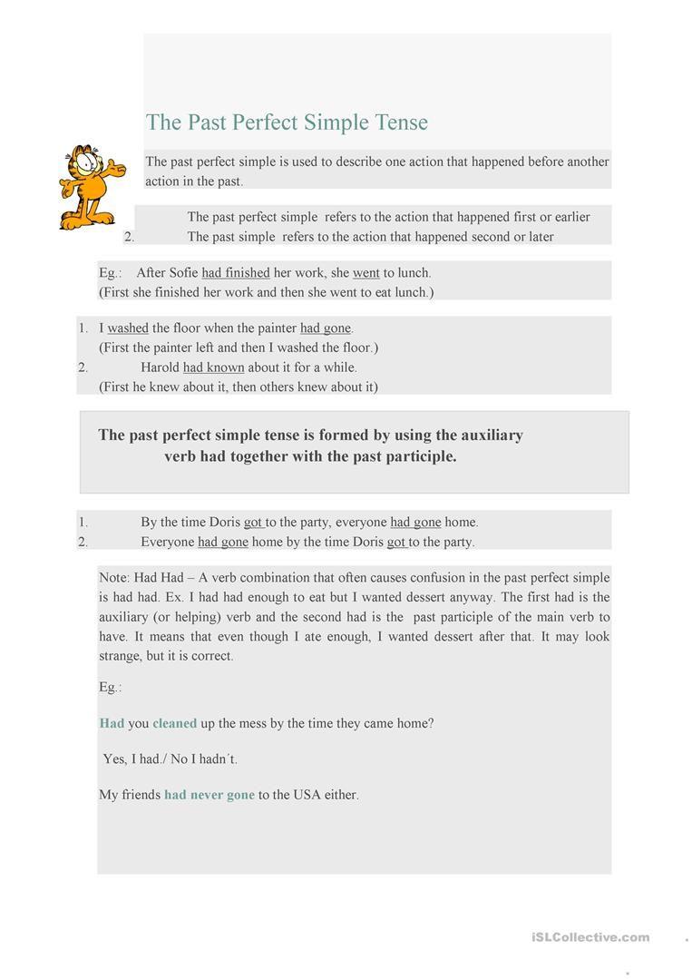 The Past Perfect Simple Tense Tenses Pinterest Verb Tenses