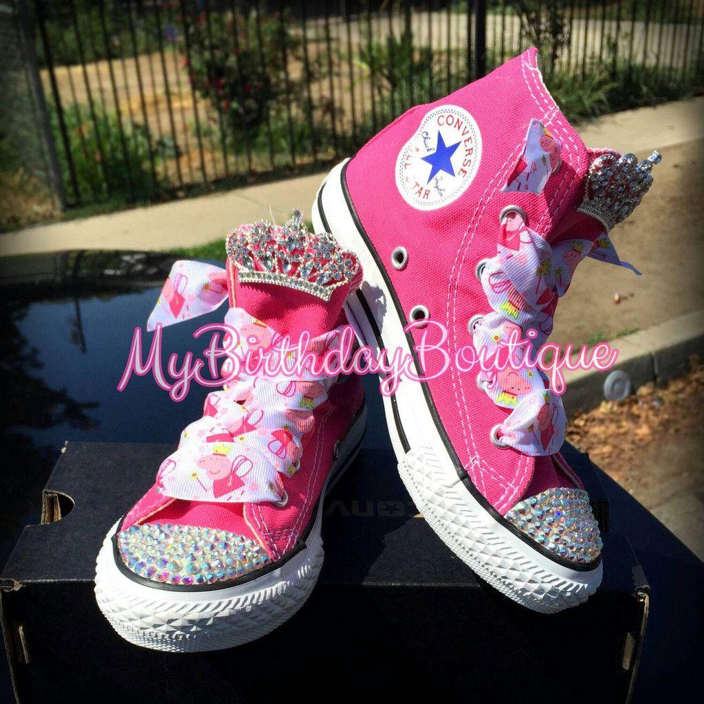 2443f0aebf2c3 Peppa pig birthday shoes, pink blinged swarovski Crystal converse ...