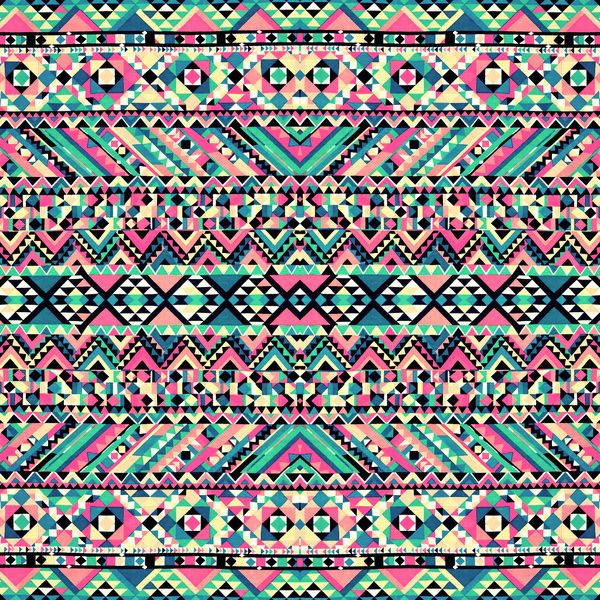 Blue Tribal Wallpapers: Pink Turquoise Girly Aztec Andes Tribal Pattern Art Print