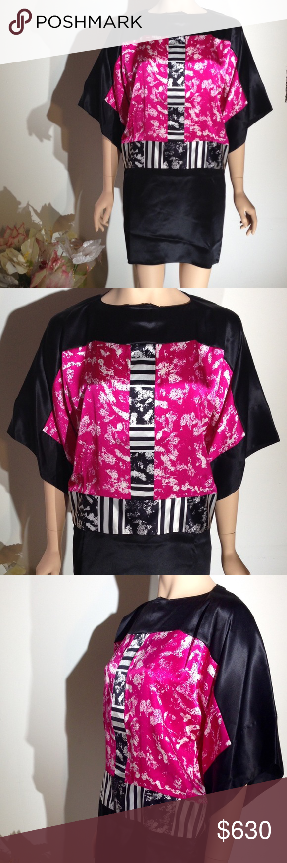 NWT DURO OLOWU Silk Dress Size 36 $1469 w tax DURO OLOWU 100% Silk,  magenta pink, black and white,  Abstact print, 3/4 sleeve Dress above the knee (mini) New with Tags including price, size 36.  Retail total with tax is $1470.  Made in the United Kingdom DURO OLOWU Dresses Mini