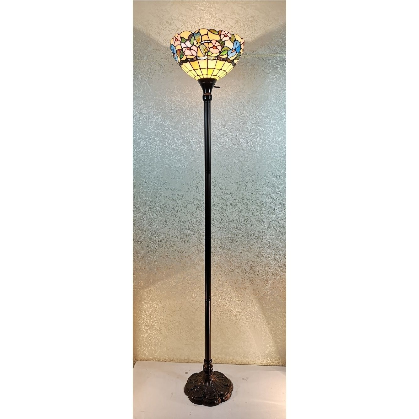 Tiffany Style Floor Lamp 70 Tall Torchiere Standing Dragonfly