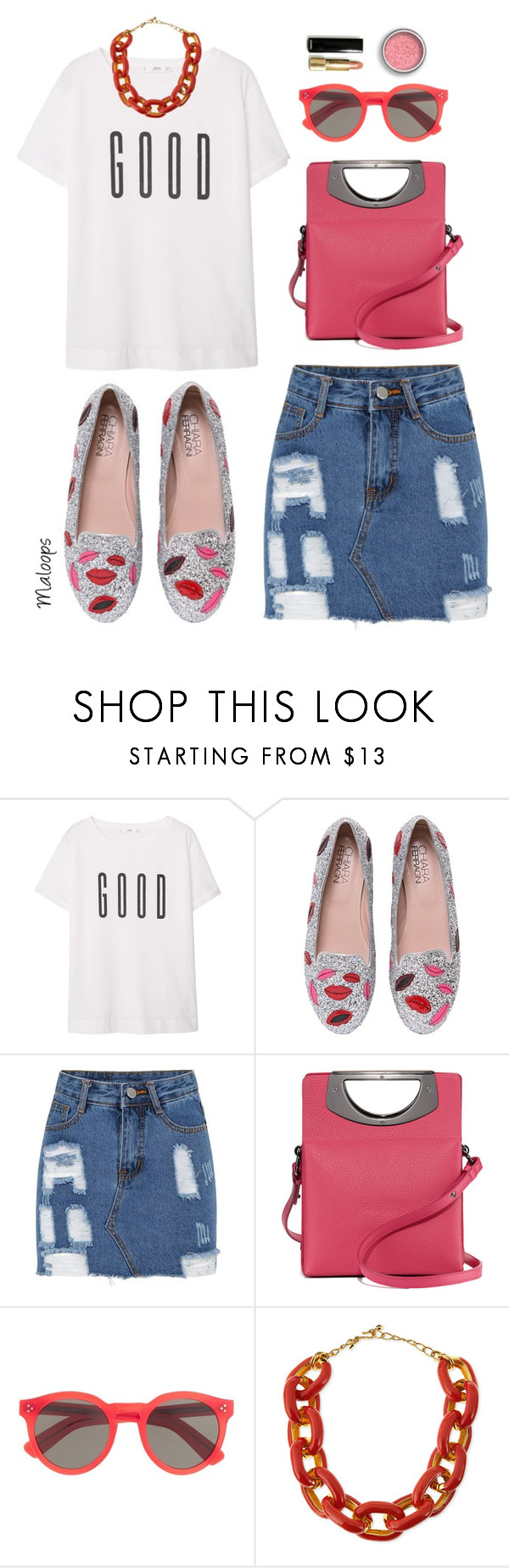 """~And I'm feeling good~"" by maloops ❤ liked on Polyvore featuring MANGO, Chiara Ferragni, Christian Louboutin, Illesteva, Kenneth Jay Lane, summerstyle, Tshirt and slogantshirts"