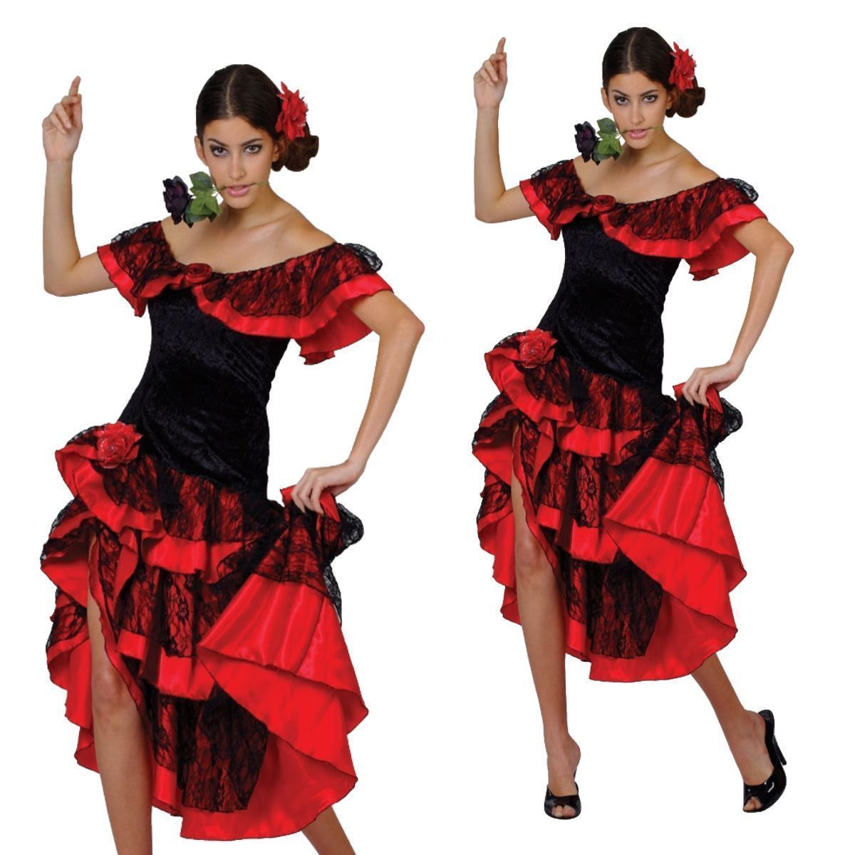 Ladies Spanish Style Dancing Fancy Dress Costume Black /& Red Outfit UK 10-14