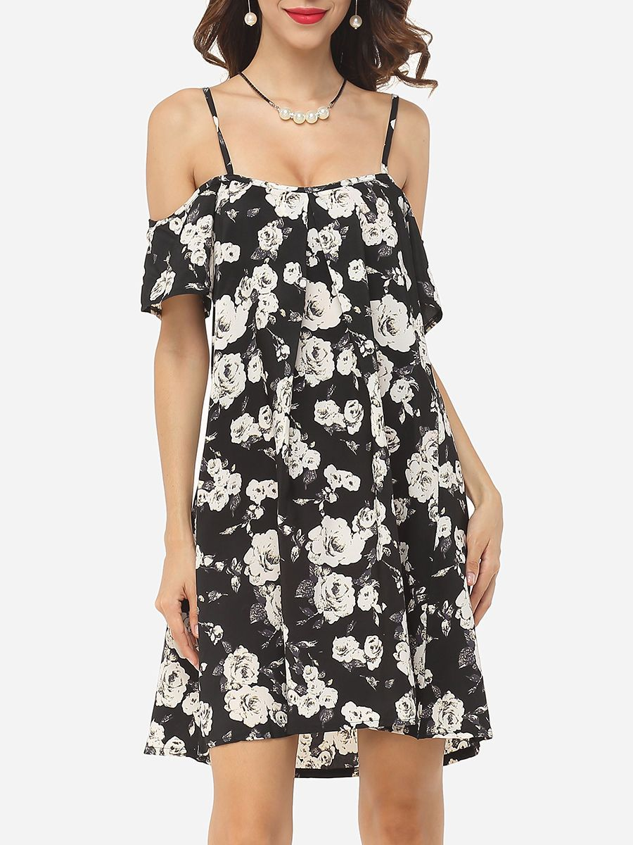 Loose Fitting Spaghetti Strap Dacron Floral Shift Dress - fashionmeshop.com