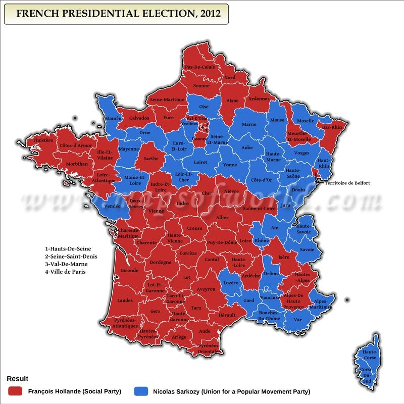 French Presidential Election Results Map Election Maps - Us election results map 2012