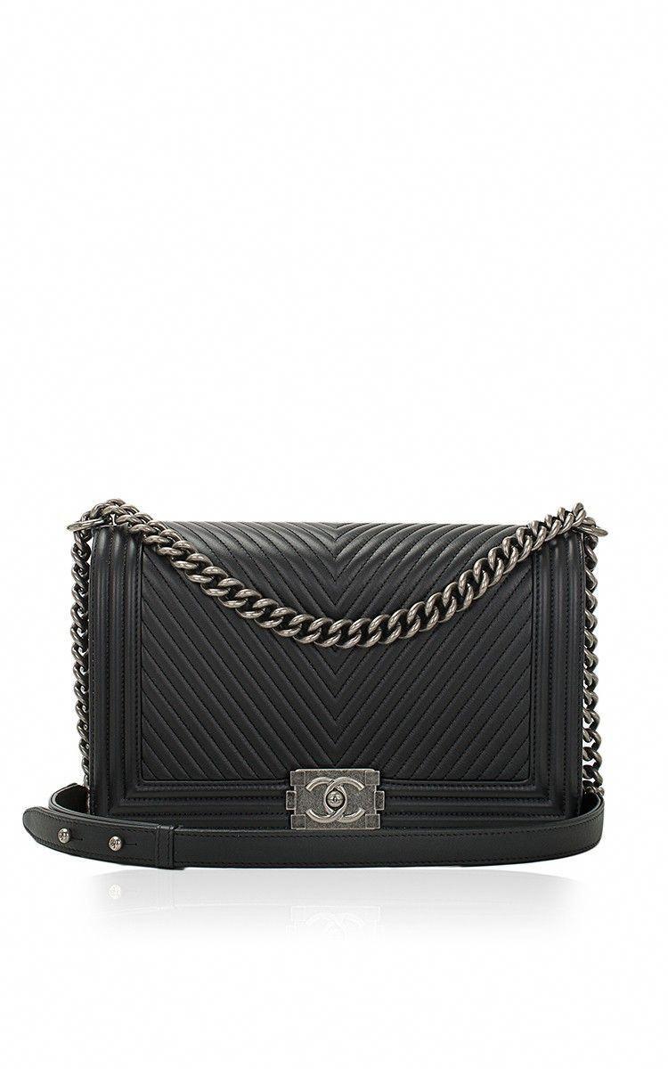 689d947d2a0b27 Chanel Black Herringbone Chevron Calfskin Large Boy Bag by Madison Avenue  Couture for Preorder on Moda Operandi #Chanelhandbags