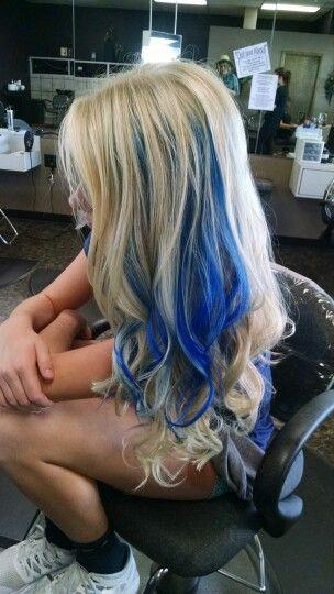 Did my sister's color. Natural blonde. Blue peekaboo