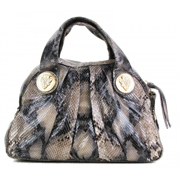 08a36760f02 Gucci Grey Python Hysteria Dome Satchel Bag