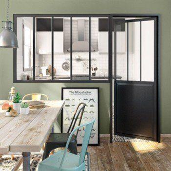 Verrière d\'intérieur atelier en kit aluminium noir 4 vitrages, H ...