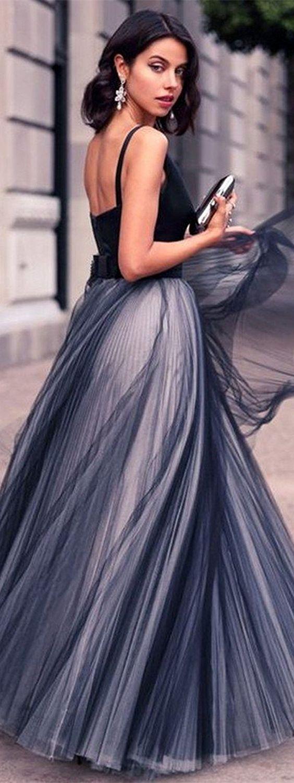 Aline vneck black tulle elegant prom dress with sashes black