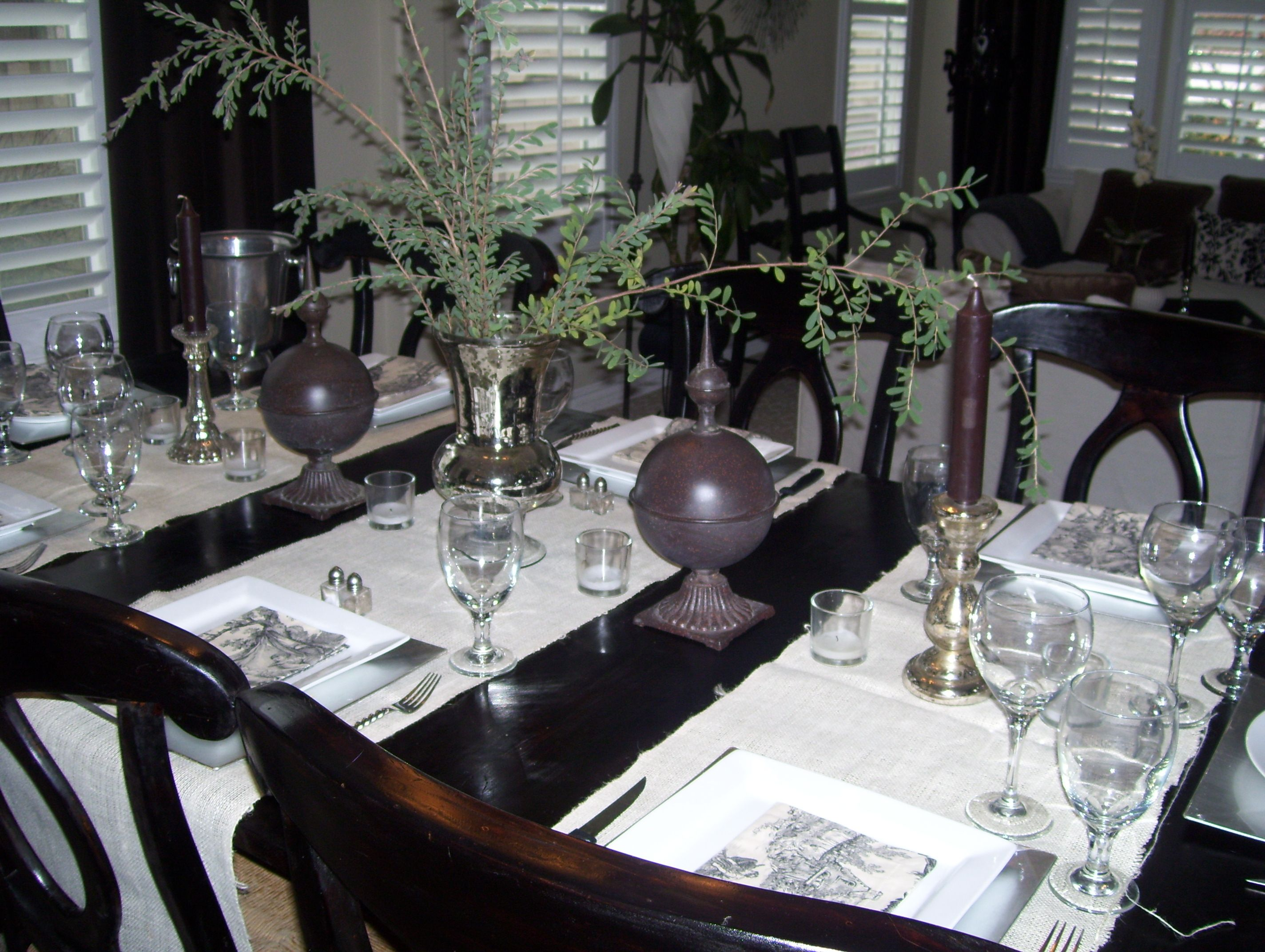 finials, mercury glass, sprigs