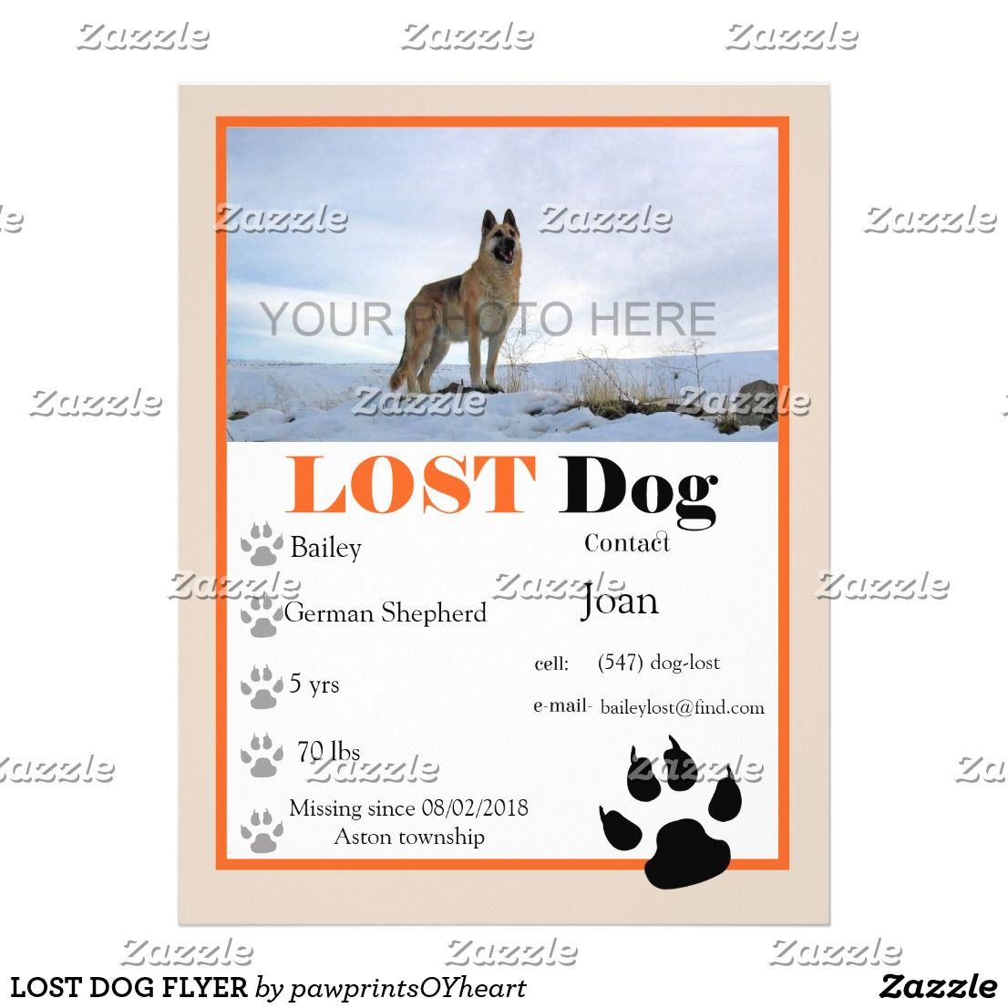 LOST DOG FLYER Custom Template Losing a dog