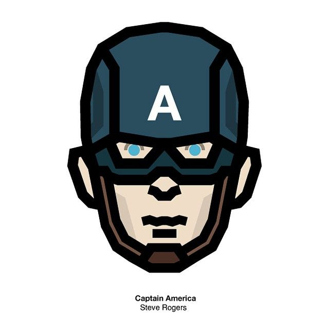 Captain America #Steave #rogers #america #captain #captainamerica #avengers #character #design #face #icon #illustration #pictogram #marvel