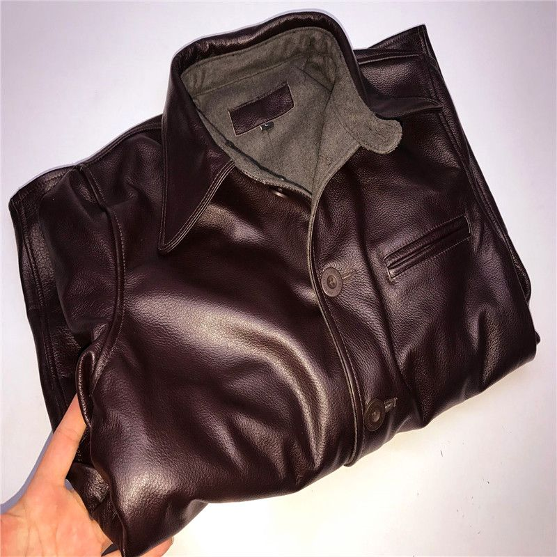>> Click to Buy << genuine cow skin leather jacket mens vintage casual biker cowhide leather jacket #Affiliate
