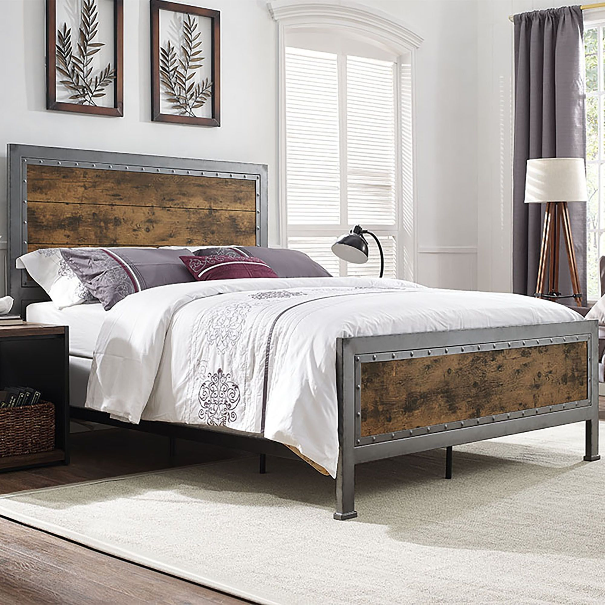 Queen Size Industrial Wood and Metal Bed - Brown, Black