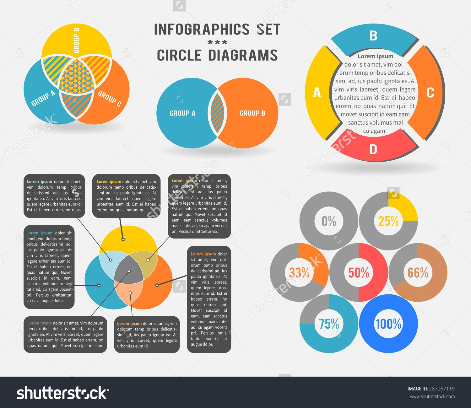 vector infographics set of circle diagrams  venn diagrams