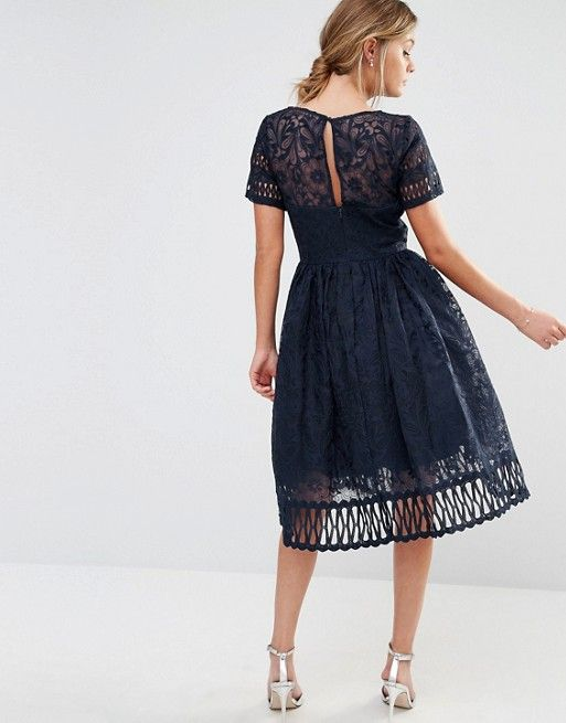 fbc962c1eb3ad Chi Chi London premium lace dress with cutwork detail and cap sleeve ...