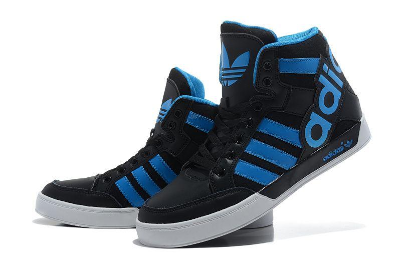 adidas originals high tops big tongue shoes black blue