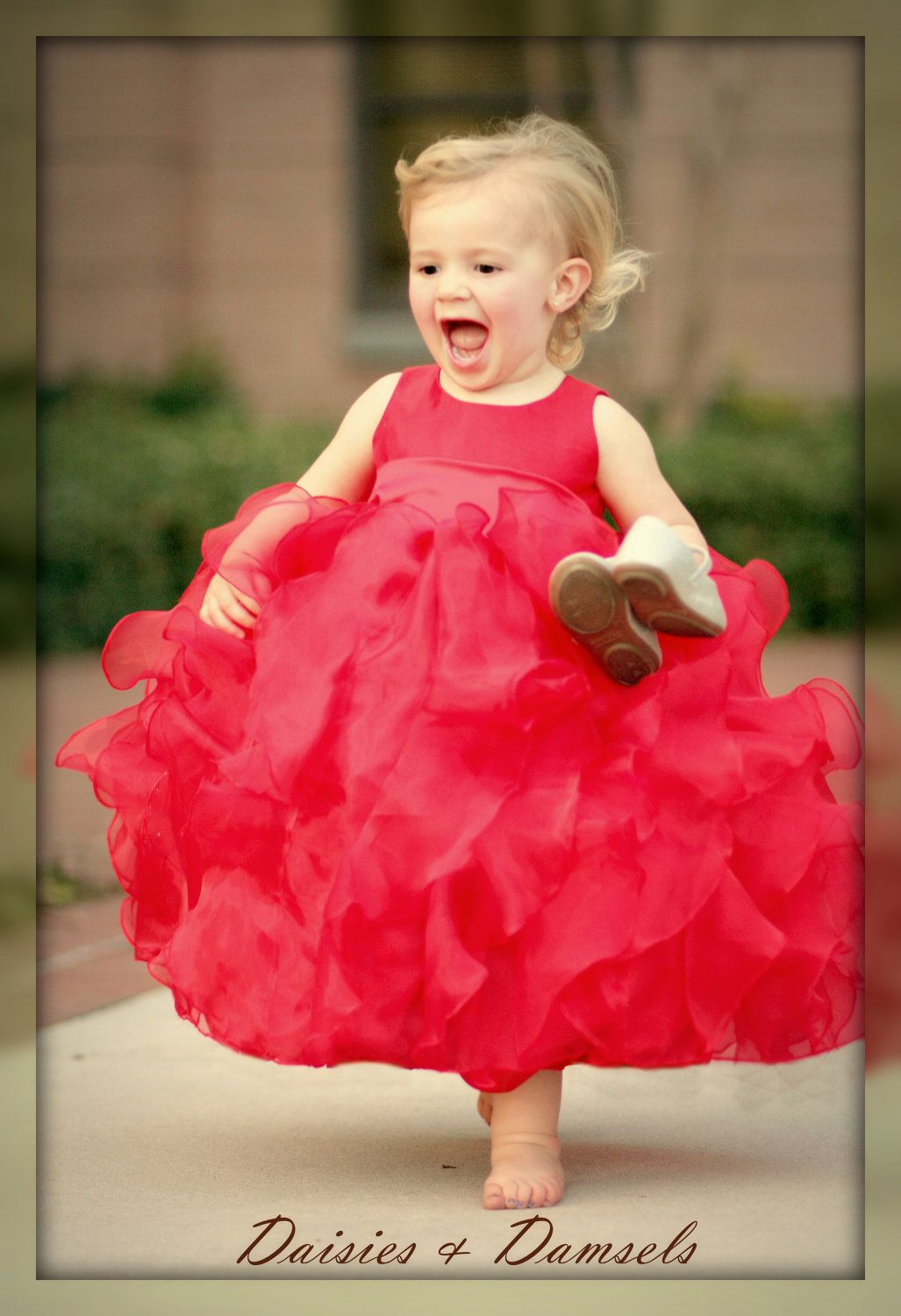 Red flower girls dress tealength lots of by DaisiesandDamsels ...