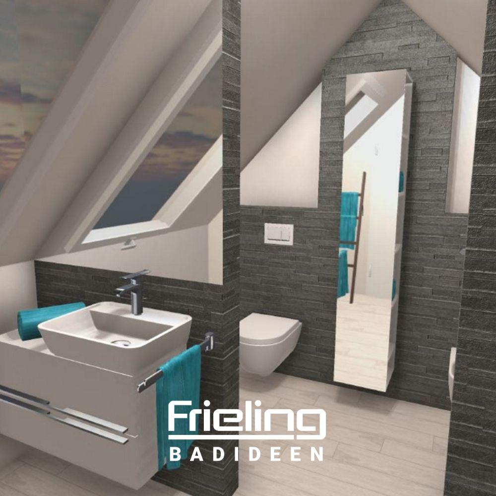 Das Spitzbodenbad Ansicht Waschbecken Und Wand Wc Badezimmer Mit Schrage Kleine Badezimmer Wand Wc