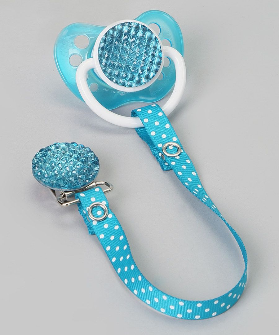 Look at this Teal Rhinestone Pacifier & Polka Dot Clip on #zulily today!